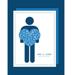 Blue white lineart plants man in love silhouette vector