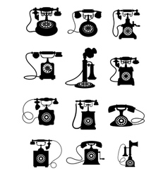 Silhouette of vintage telephones vector