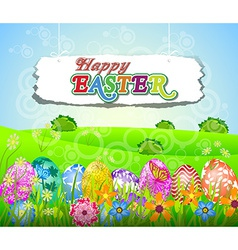 Happy easter background with eggs in grass and vector