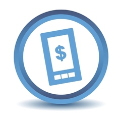 Blue dollar phone icon vector