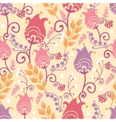 Tulip flowers seamless pattern background vector
