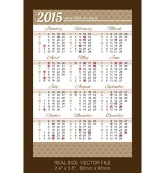 Pocket calendar 2015 with usa holidays vector