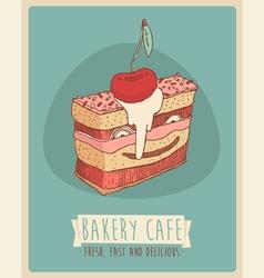 Cerry piece of cake happy birthday sweet cupcakes vector