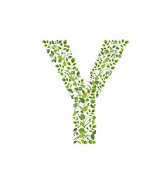 Spring green leaves eco letter y vector