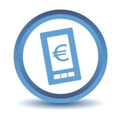 Blue euro phone icon vector