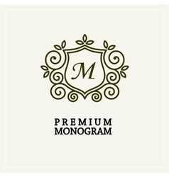 Stylish and graceful floral monogram design vector