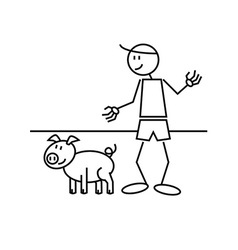 Stick figure pig vector