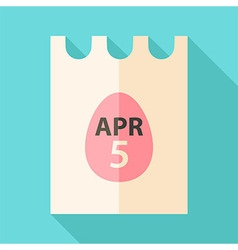 Easter piece of paper with date 5 april and egg vector