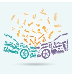 Car crash icons concept vector