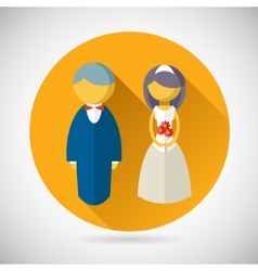 Wedding symbol bride and groom marriage icon vector
