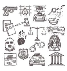 Law icon sketch vector