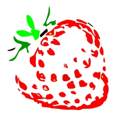 Juicy strawberry silhouette vector