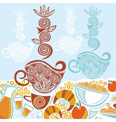 Breakfast and coffee cups pattern vector