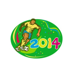 Brasil 2014 soccer football player run retro vector