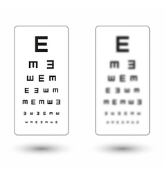 Sharp and unsharp simple snellen chart with one vector