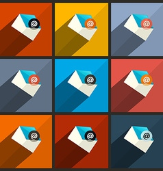 Flat design ui email icons set vector