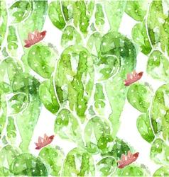 Seamles watercolor cactus background vector