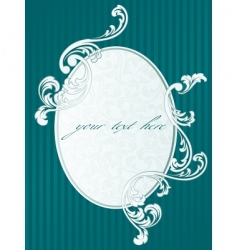 French retro frame in green vector