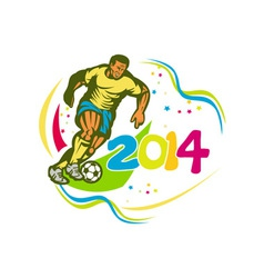 Brazil 2014 football player running ball retro vector