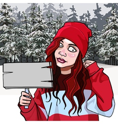Cartoon teen girl with a signboard in the winter vector