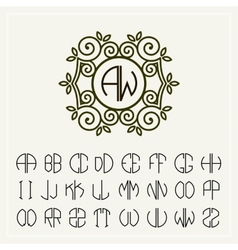 Set template to create monograms of two letters vector