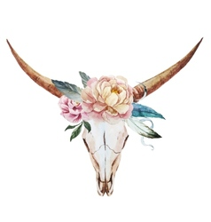 Bull skull watercolor vector