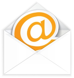White envelope and at e mail symbol vector