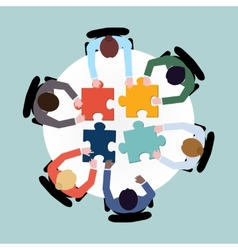 Business people puzzle vector