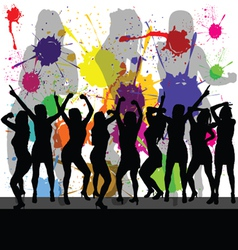 Party with girl silhouette and color background vector