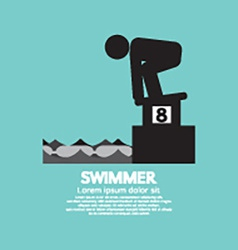 Swimmer at starting block symbol vector