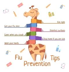 Flu prevention tips with giraffe vector