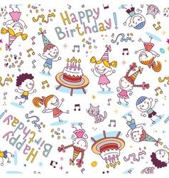 Happy birthday kids party pattern vector