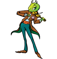 Cartoon of grasshopper playing violin vector