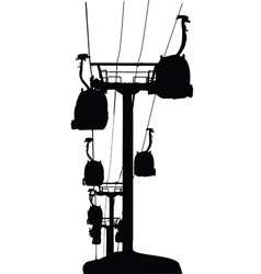 Cable-cars silhouette vector