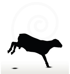 Sheep silhouette with jumping pose vector