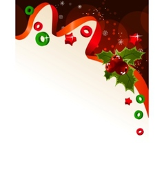 Christmas background with holly berry vector