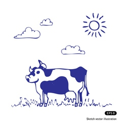 Cow grazes vector