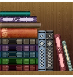 Shelf with old books vector