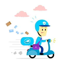Postman delivering mail by motorcycle vector