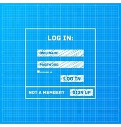 Login form on blueprint background vector