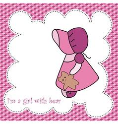 Baby girl arrival announcement card vector