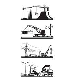 Different types of construction scenes vector