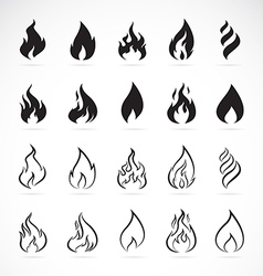 Set of flame symbols vector