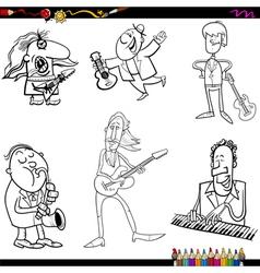 Musicians cartoon coloring page vector