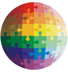 Jigsaw puzzle shape of a ball colors rainbow vector