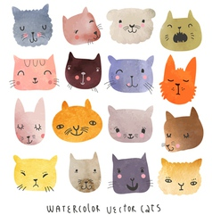Watercolor set cats vector