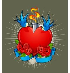 Heart with birds vector