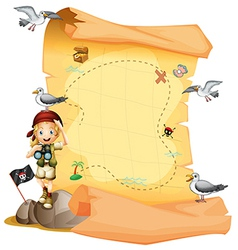 A treasure map and a young girl holding a vector