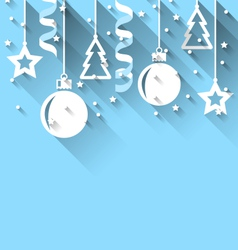 Christmas background with fir balls stars streamer vector
