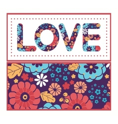 Colorful bouquet flowers love text frame pattern vector